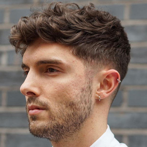 Thick Wavy Hair with Short Taper Fade