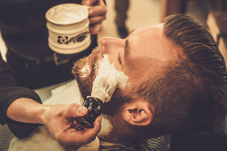 Wet Straight Razor Shave with Lathered Shaving Cream at Barbershop