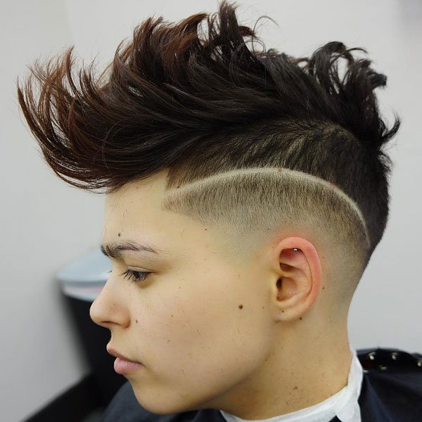 Curly Hair Mohawk Fade For Boys