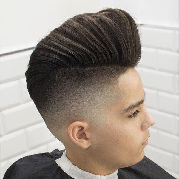 Older Kids Long Pompadour Fade Haircut