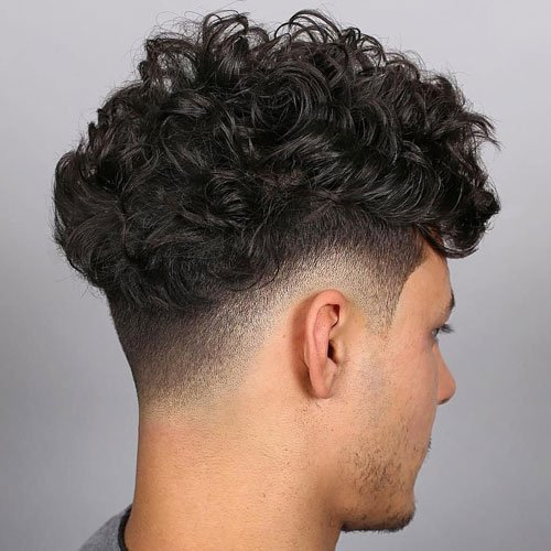 Curly Hair Perm with Drop Fade