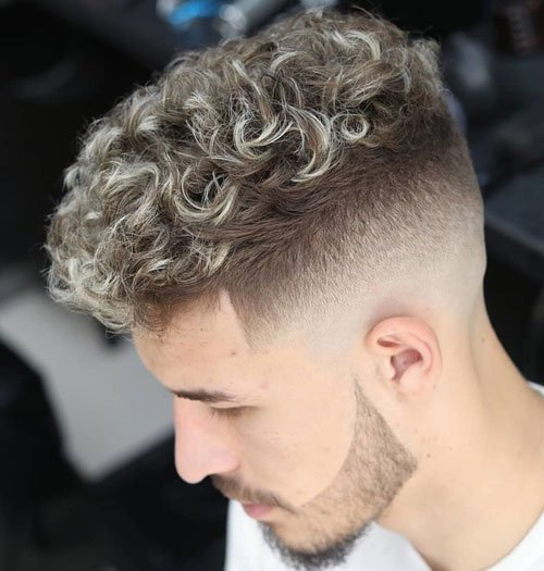 Curly Perm Hair Crop Top Fade