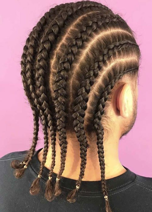 Straight Back Cornrow Braids Men
