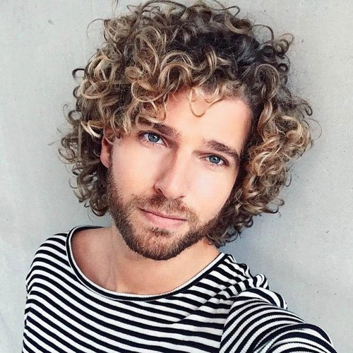 Medium Curly Hair Men