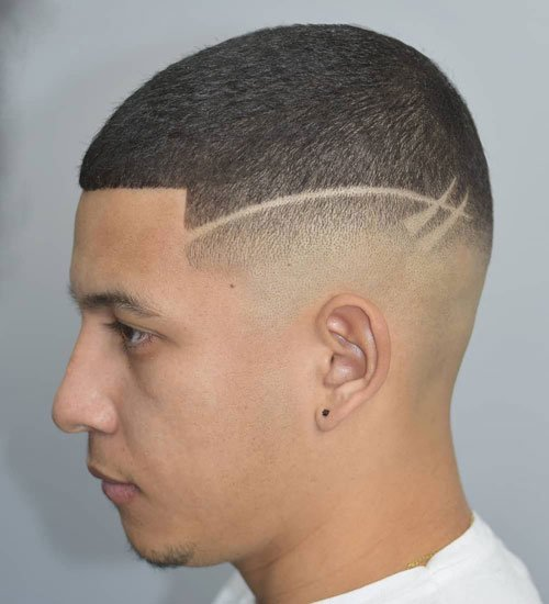 Butch Cut Fade with Two Shaved Lines