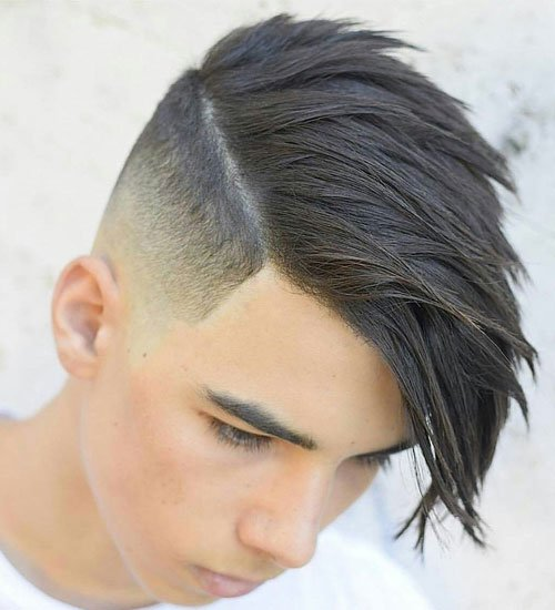 Mid Fade with Long Hair on Top