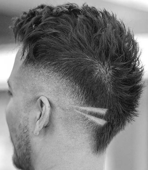 Mohawk Fade with Line Designs