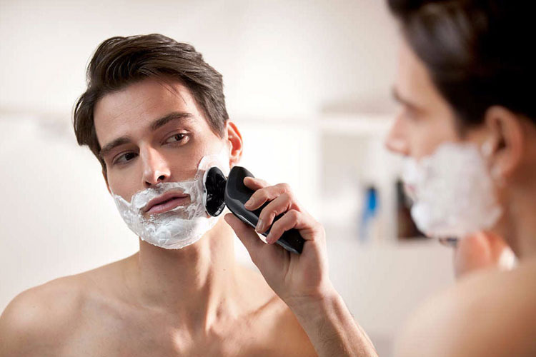 Shaving Cream With An Electric Razor